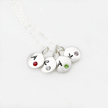 Initial Necklace - Birthstone Necklace - Personalized Necklace - Custom Mommy Necklace - Charm Necklace