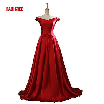 2017 New arrival  party evening dresses Long dress Vestido de Festa A-line bow satin gown  V-opening back  free shipping