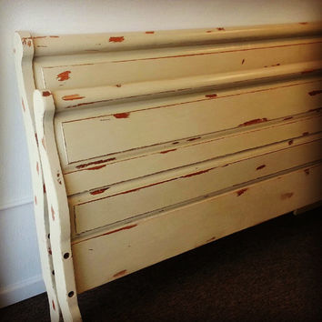 King Bed, King Sleigh Bed, Cream, Chippy Headboard, Chalk Painted, Vintage, Shabby Chic, King Size Headboard Footboard and Bed Frame