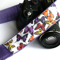 Butterflies Camera Strap. dSLR Camera Strap. Purple Camera Strap. Women Accessories.