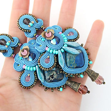 Blue Chandelier earrings, long blue soutache earrings, soutache jewelry, embroidered statement earrings