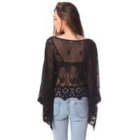 Black crochet lace poncho top