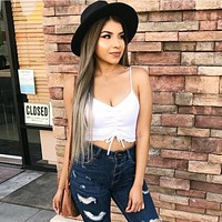 Women Solid Color Simple Drawstring V-Neck Sleeveless Strap Small Vest Crop Tops