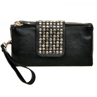 Women Black Rivet Stud Handbag PU Leather Bag Party Bag Great Gift For Ladies Free Shipping