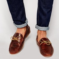 ASOS Loafers in Tan Leather With Tie Front