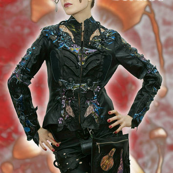 Fantastic   women's jacket Exclusive handmade  of real leather black-blue color. Design exclusive handmade. In stock!