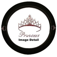 Pink Princess w/ Cute Crown Gem Crystal Studded Rhinestone Bling Car Truck SUV Steering Wheel Cover