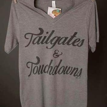 """Gina """"Tailgates & Touchdowns"""" VNeck Tee"""