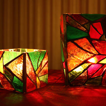 Small Stained Glass Poinsettia Candleholder/Vase, Poinsettia Mosaic Candleholder