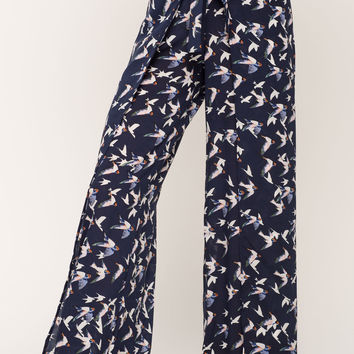 Bird Wrap Wideleg Pants