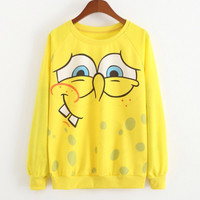 New Funny Emoji Harajuku Cartoon Spongebob Print Sweatshirt