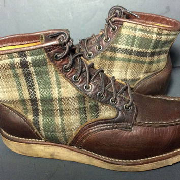 Red Wing® 9003 Lumber Jack Brown Wool Leather Boots Men's Size 9.5