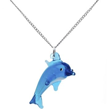 Blue Glass Dolphin Necklace