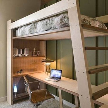 XO Solid Wood Loft Bed With Bookcase And Angle Ladder  In Full Size