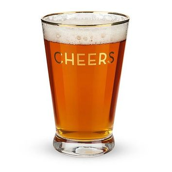Rustic Farmhouse™ Gold Rimmed Cheers Pint Glass Set by Twine