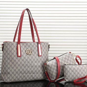 Gucci New Fashion Women Leather Satchel Tote Shoulder Bag Crossbody Wallet Three Piece Set