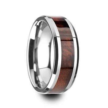 Men's Tungsten Wedding Ring With Genuine Red Wood Inlay & Beveled Edges - 8mm