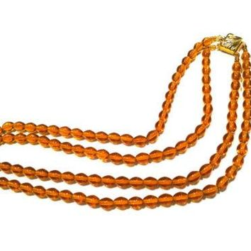 Czech Vintage Jewelry Amber Glass Crystal 2 Strands Necklace