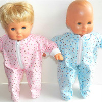 "American Girl Bitty Baby TWINS Clothes 15"" Doll Clothes Pink and Blue Polka Dot Flannel Up Feetie Pajamas Pjs Sleeper Winter"