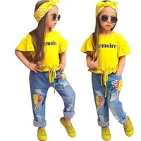 T-Shirt+Pants+Headband Set Fashion Girl Clothes