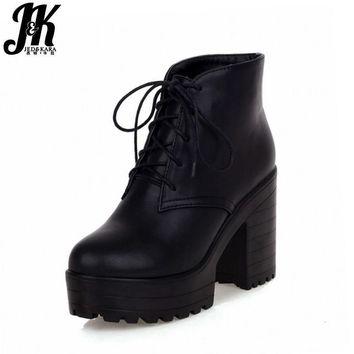 33-43 Lace up Spring Autumn Winter Boots Women Shoes Warm Fur Addible Ankle Boots Mar