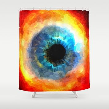 The Eye of Evil, demonic looking galaxy, nebula, beauty of deep space, rich colors Shower Curtain by Peter Reiss