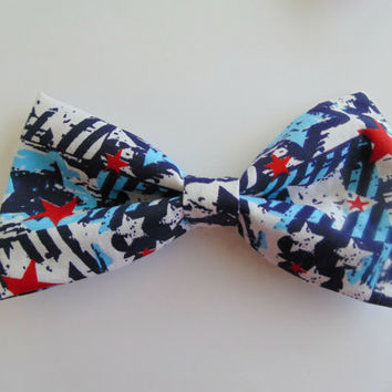 Red White and Blue Hair Bow / American Flag Hair Bow / July 4th Fabric Bow / Patriotic Hair Bow / America Hair Accessory / Made in the USA