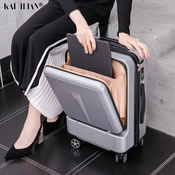 24''Creative Rolling Luggage Spinner Suitcase Wheels with laptop bag