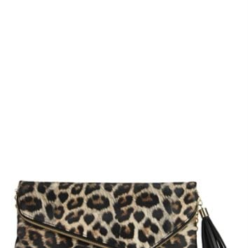 Leopard Print Handbag with Chain Strap
