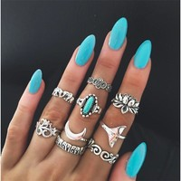 Jewelry Shiny Gift New Arrival Stylish Strong Character Vintage Totem Turquoise Mermaid Ring [11790882191]