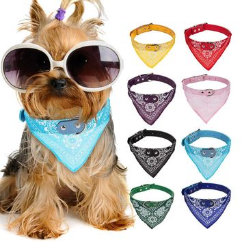 Pet Dog Cat Adjustable Cute Flower Printed Bandana Scarf Bibs Puppy Neck Chain Tie Collars Neckerchief Adorable Necktie