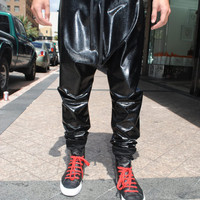 Faux Leather Snake Skin Drop Crotch Pants for Men and Women
