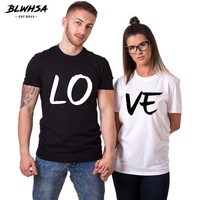 BLWHSA Lovers Couple Summer Funny Couple Women T Shirts Heart Love Printing Cool Men Short Sleeve Couple Boyfriend Clothing