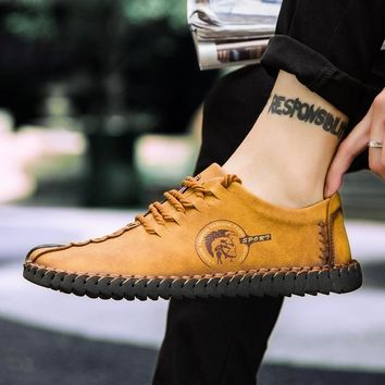 2019 New Comfortable Casual Shoes Men  Loafers Shoes Quality Split Leather Shoes Men Flats Hot Sale Moccasins Shoes