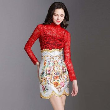 Long Sleeved Lace Blouse + Embroidery Mini Skirt Set Two Piece