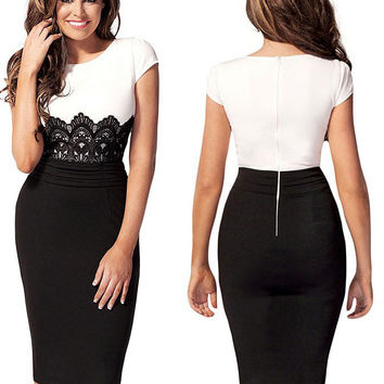 Black And White Short Sleeves Lace Embroidered Ruched Waist Midi Pencil Dress