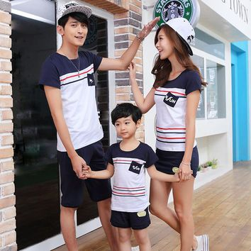 Mother & Kids Summer Boys Clothing Set Stripe Boys Top + Boys Shorts Family Matching Outfits Fashion Casual Spring Kids Clothes