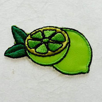 Green lemon Iron on Patch(S) - Green lemon Applique Embroidered Iron on Patch