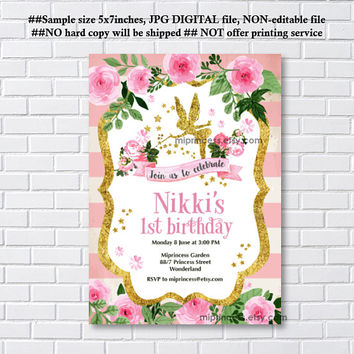 Fairy invites, Birthday Invitation, gold fairy girl birthday party for any age 1st 2nd 3rd 4th 5th 6th 7th 8th 9th 10th- card 1127