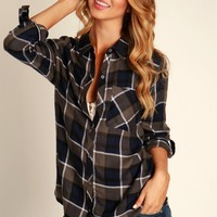 Plaid Love Flannel Navy
