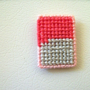 Geometric Fridgie--Silver, Pink and Watermelon