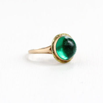Vintage 10k Rose & Yellow Gold Simulated Emerald Green Cabochon Ring - Art Deco 1930s Size 5 3/4 Green Glass Fine Two Tone Filigree Jewelry