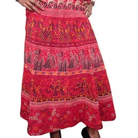 Mogul Wrap skirt RED Ethnic Printed Long Maxi Beach Skirt