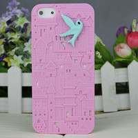 Pink European Style Building With Resin Bird Hard Cover for Apple iPhone5 Case, iPhone 5 Cover,iPhone 5 Case, iPhone 5g