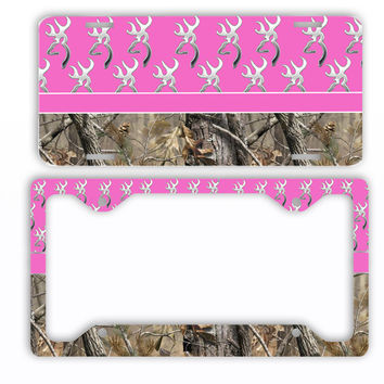 Hot Pink Browning Camo License Plate Frame Car Tag Country Hunting