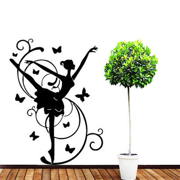 Wall Vinyl Decal Sticker Girl with Butterflies Beauty Saloon Room Mural Art  Design elegancy hall wall Chu1225