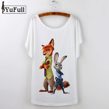 Harajuku Summer Tops 2016 Casual tshirt Women t shirt zootopia cartoon print short sleeve white graphic tees print t-shirt femme