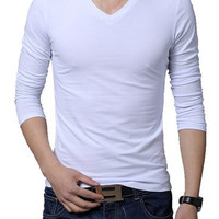 V-Neck Long Sleeves Plus Size T-Shirt