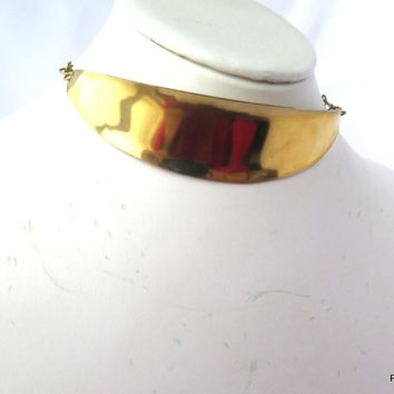 Gold Bar Choker Necklace, Gold Brass Choker