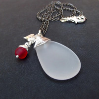 Holiday Necklace: Fine Silver Wire Wrapped White Sea Glasss Pendant, Frosted Red Drop, Puffed Heart Charm, Christmas Beach Jewelry